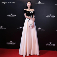 Angel Novias Long Red Carpet Off The Shoulder Celebrity Evening Dress 2018