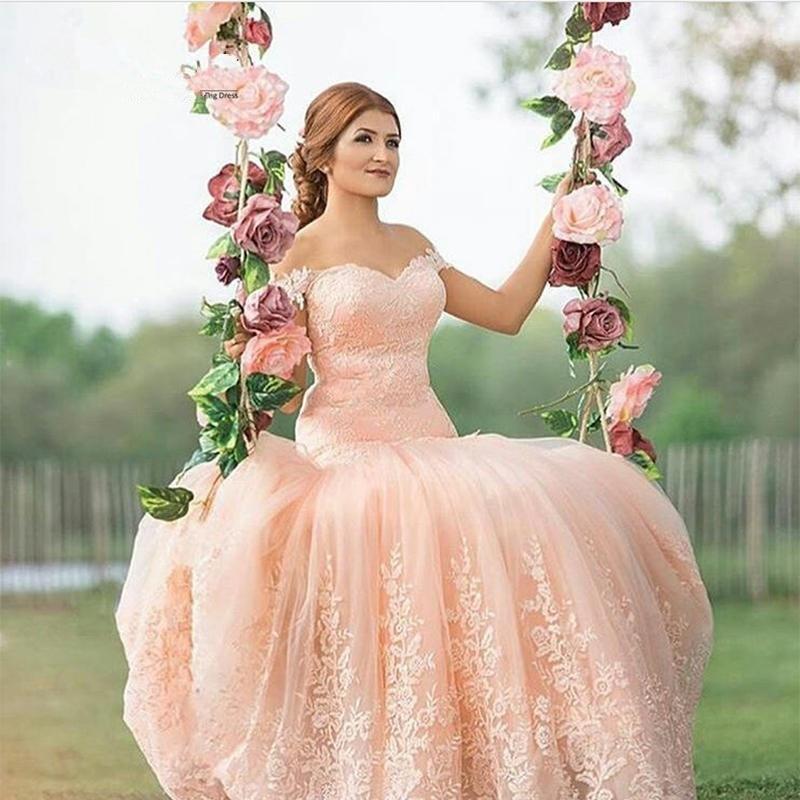 2017 vintage arabic sexy mermaid lace wedding dress 2016 appliques peach pink high quality wedding dresses arabische abend
