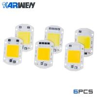 KARWEN 6 uds LED COB Chip bombilla 10W 20W 30W 50W 220V poder Real de entrada IP65 al aire libre bombilla LED para lámpara reflector cálido frío blanco