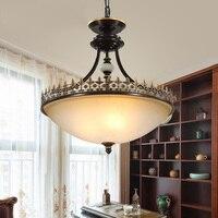 Americano retro vidrio cabeza lámpara habitación pasillo dormitorio lámpara Pastor de campo creativo de araña