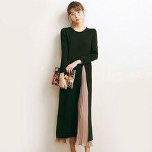 Осенне-зимняя обувь платье с широкими рукавами Женские Имитация комплекта из двух предметов вязаный свитер платье черный шить парадный вечерний костюм A682