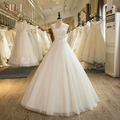 SL-2 Custom Made Tulle Lace Appliques A-Line Luxury Beaded Wedding Dress 2017