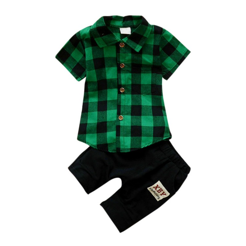 Baby Clothes Baby Boys Clothes Set Plaid Shirt Cotton Pants Fashion Baby Boy Clothes Set Kids Clothing baby boy clothes monkey cotton t shirt plaid outwear casual pants newborn boy clothes baby clothing set