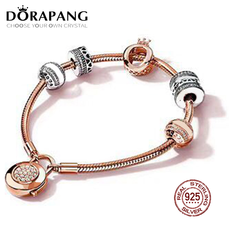 DORAPANG 2018 New Hot Sale 925 sterling silver Bracelet For In Love Gift Set For Women Rose Bracelet Charm DIY Letter Jewelry new pure au750 rose gold love ring lucky cute letter ring 1 13 1 23g hot sale