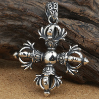 number of wholesale manufacturers S925 silver jewelry silver love sweater chain Silver Pendant Vajra Cross Pendant