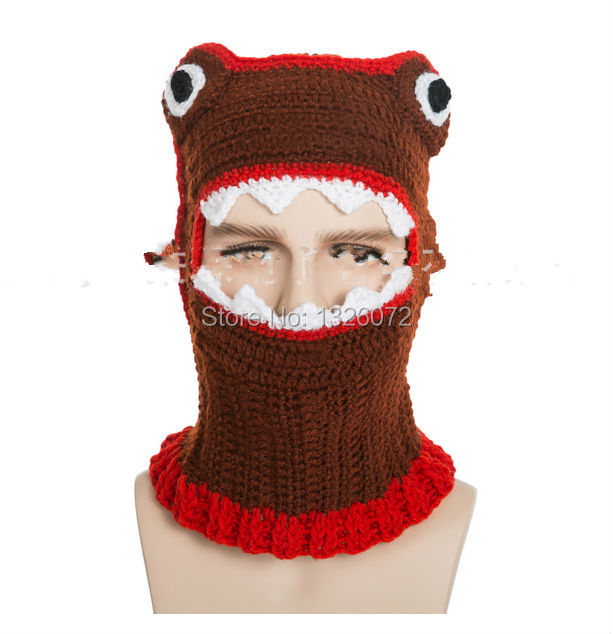 Novelty Handmade Beanie Crochet Cool Eaten Alive Knitted Balaclava Hat and Mask Mens & Women Autumn Winter Cap Party gift