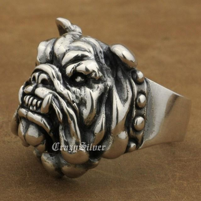 LINSION Huge Heavy 925 Sterling Silver Pitbull Bulldog Ring Mens Biker Rock Punk Ring TA12 US Size 7~15