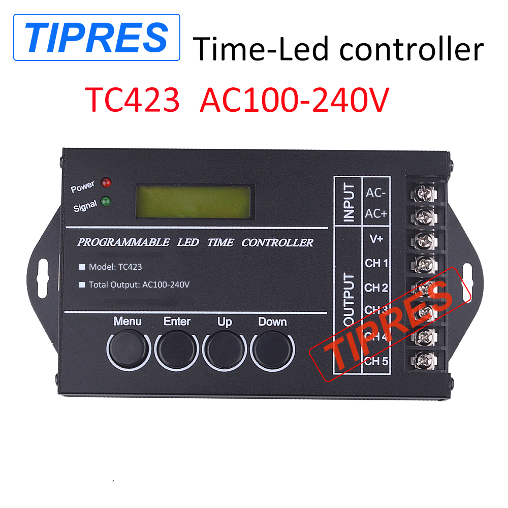Free Shipping Time programable RGB LED Controller Dimmer TC423 ac100 to 240v 5Channel Total Output 5A