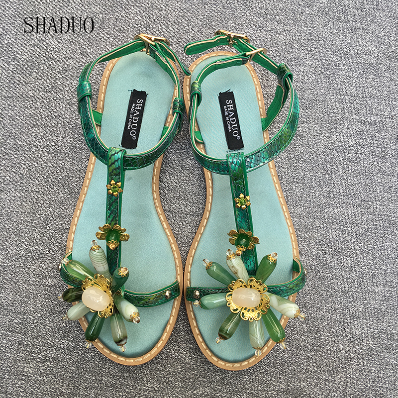 2018 SHADUO top quality Women s Vintage Style Leather Stitching Natural Green Agate Stone Flat Sandals