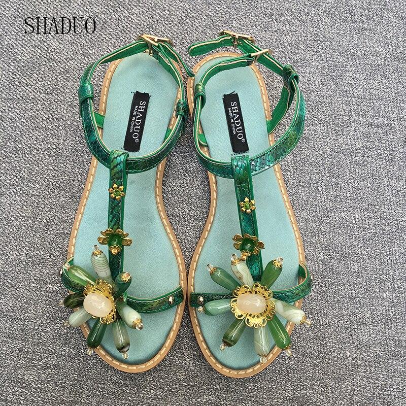 2018 SHADUO top qualité Femmes de Style Vintage En Cuir Couture Naturel Vert Agate Pierre Plat Sandales Boucle Sandales-in Sandales femme from Chaussures    1