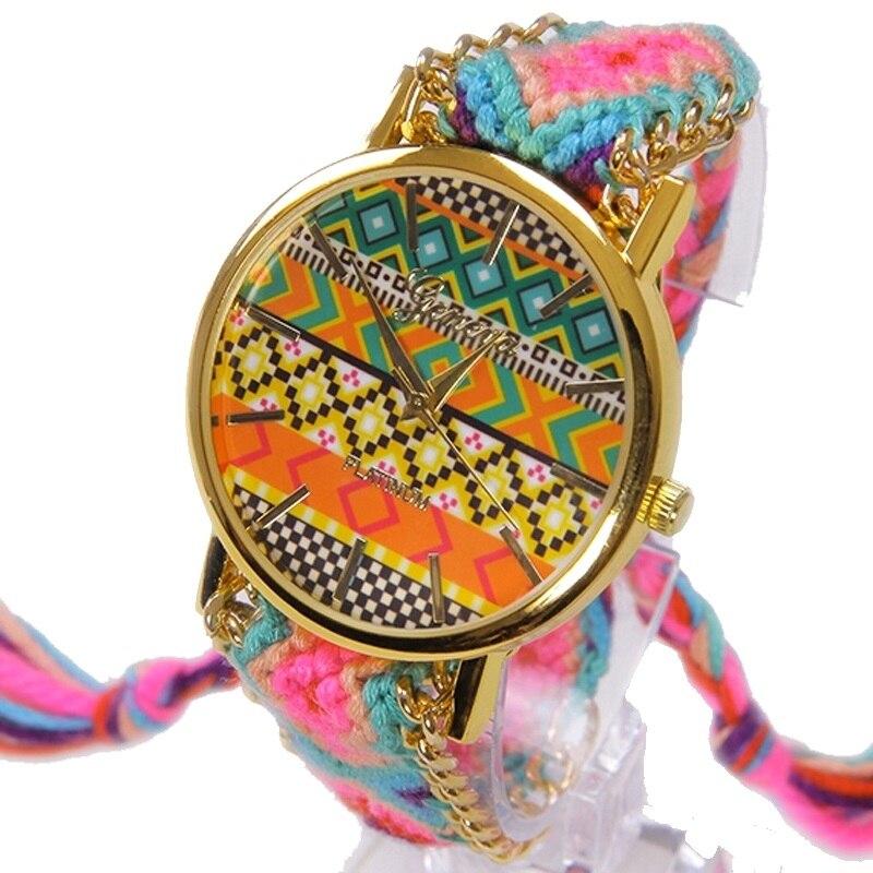 Geneva Platinum Women Watch Indian Fashion wristwatch Ethnic Style Hippie Ribbon Braided Lace Golden Chain A273