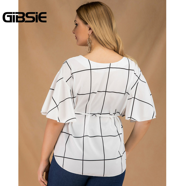 GIBSIE Plus Size Tie Waist Plaid Shirt Top Women 2019 Summer Fashion V-Neck Butterfly Sleeve Casual Ladies Tops and Blouses 2