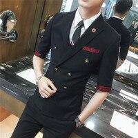 (Куртка + жилет + Штаны) новые весенние корейские из трех частей костюм мужской жених свадебное платье Хост Жених костюм двубортный