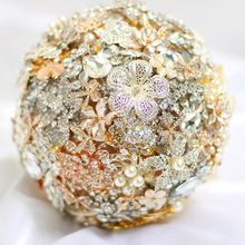 custom bridal bouquet, ivory wedding brooch bouquet, diamond pearl jewelry made of ribbons, light gold jewelry bouquet
