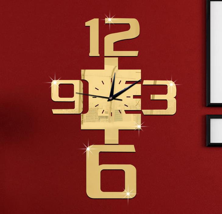miroir stickers muraux horloge murale numrique engrenage horloge quartz de bricolage horloge murale salle de - Horloge Digitale Murale Salle De Bain