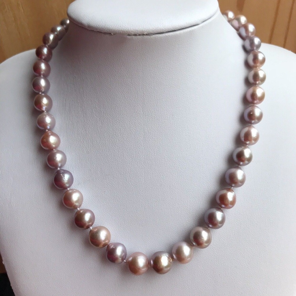 Z4506 Freshwater Pearl Necklace, Purple Lavender Pearl Necklace,9-11mm Pearl Necklace цена
