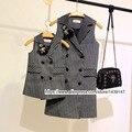 Лето Осень ребенок дети clothing Семья Долго костюм жилет двубортный одежда Мама девочки мальчики Леди Женщина Темно-серый Жилет рубашка