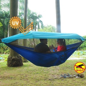 Image 2 - 2 Person Portable Outdoor Camping Hammock with Awning Mosquito Net High Strength Parachute Fabric Hanging Bed Hunting Swing
