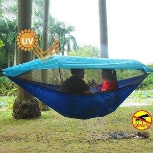 Image 2 - 2 kişi taşınabilir açık kamp hamak tente cibinlik yüksek mukavemetli paraşüt kumaşı asılı yatak avcılık salıncak