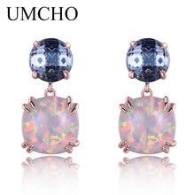 UMCHO 925 Sterling Sølv Opal Stud Øredobber Kvinne Classic Nano London Topaz Blå Øredobber For Kvinner Fest Gave Fine Smykker