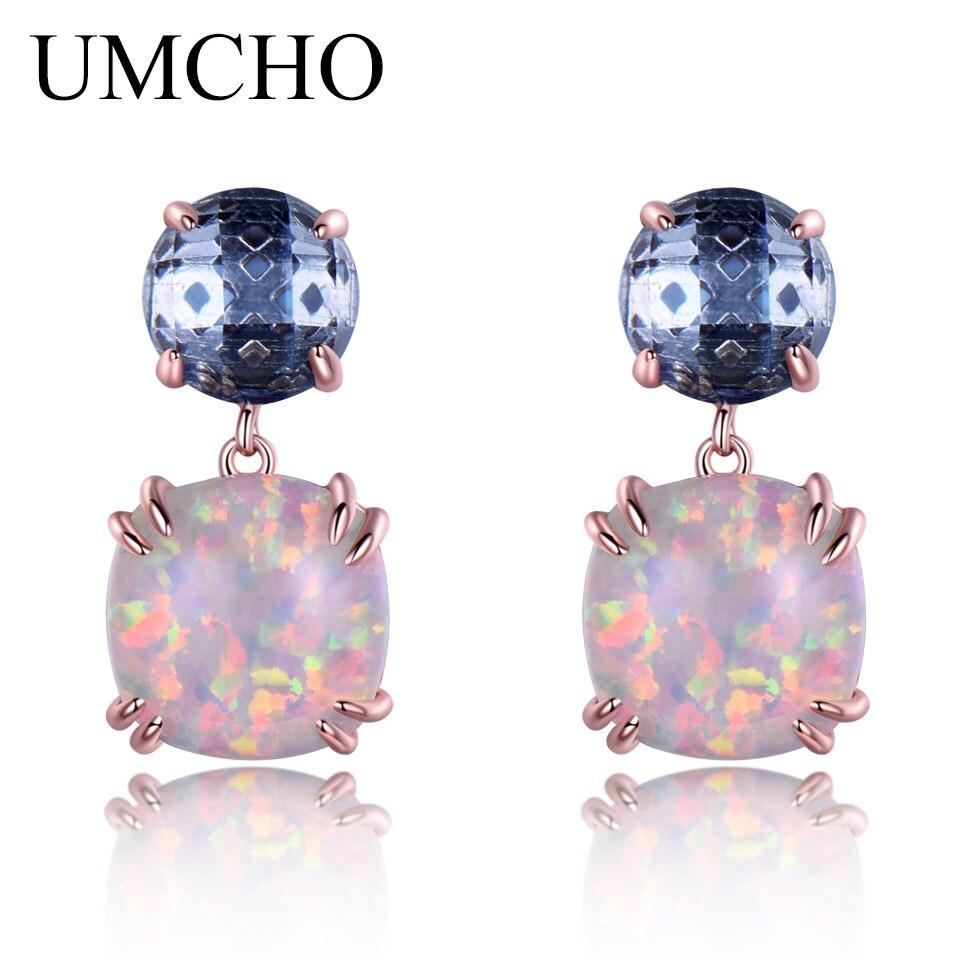 UMCHO 925 ստերլինգ արծաթագույն օպալ Stud - Նուրբ զարդեր - Լուսանկար 2