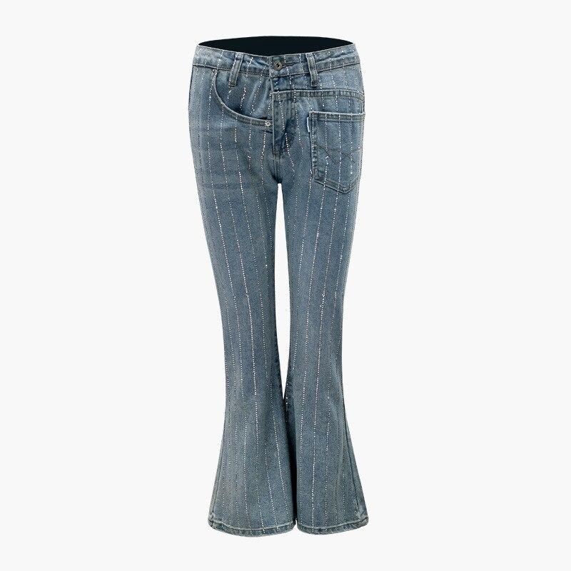 2018 European Designer Mid Waist Denim Flare Pants For Women Rhinestone Bell Bottom Skinny Jeans Female Wide Leg Pants