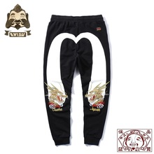 Evisu Top Quality Mens Trousers Dragon Embroidery Casual Pants Cotton Warm Breathable Sweatpants