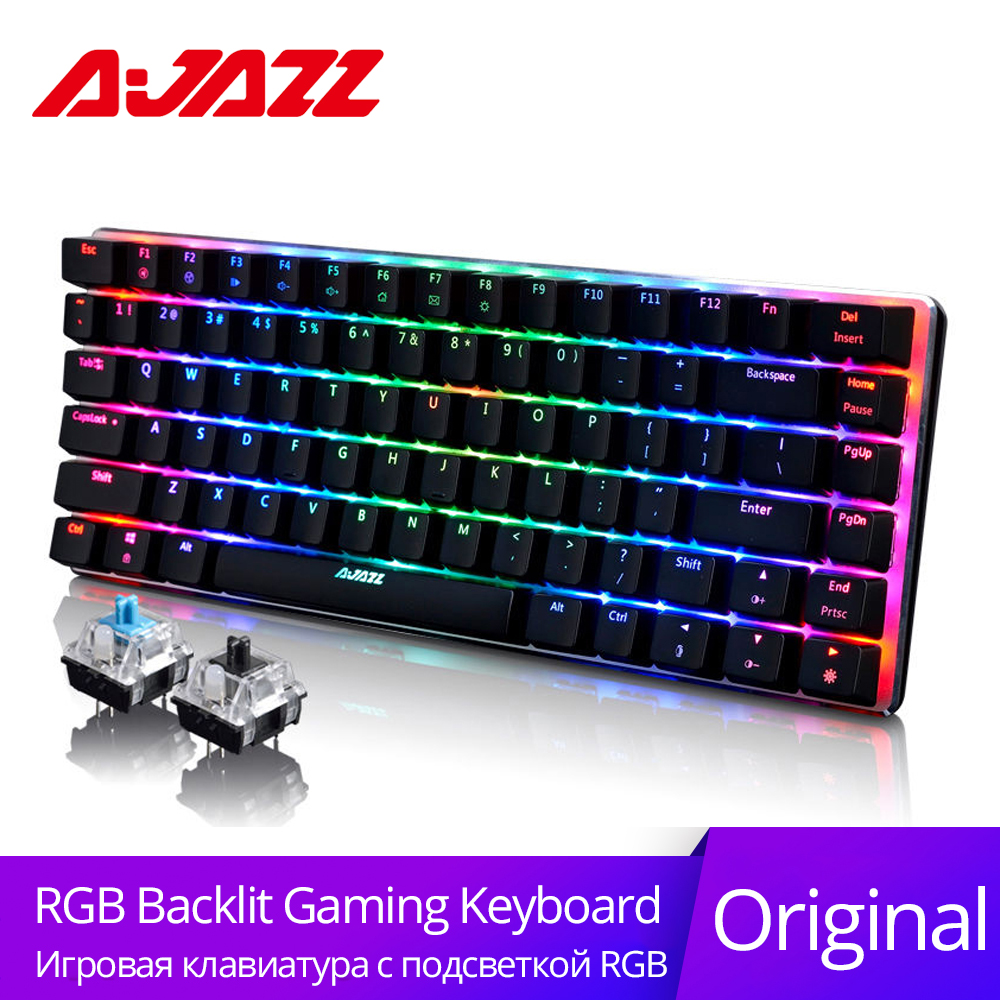 Ajazz AK33 <font><b>82</b></font> Keys Russian Gaming <font><b>Keyboard</b></font> Wired Mechanical <font><b>Keyboard</b></font> Blue/Black Switch RGB Backlit Conflict-free Rollover Gamer image