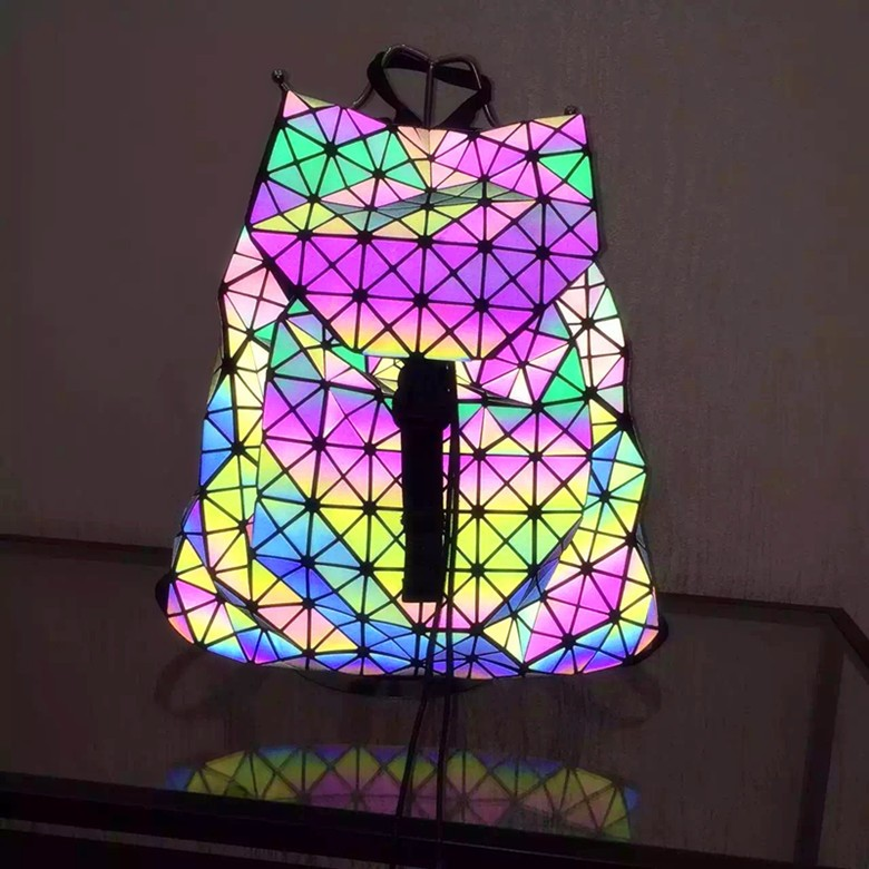 Biseafairy Luminous Backpack Diamond Lattice Bag Travel Geometric Women Fashion Bag Teenage Girl School Noctilucent Backpack 25