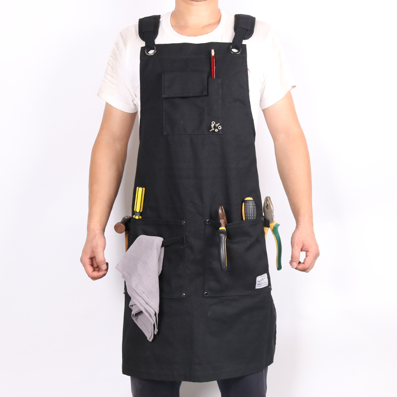 WEEYI Canvas Work Apron With Pockets Black Aprons For Woman Men Adjustable Heavy Duty Apron For