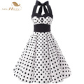 SISHION High Quality White and Black Women Dress Halter Empire Cotton Vintage Rockabilly Swing Casual Plus Size Dress VD0152