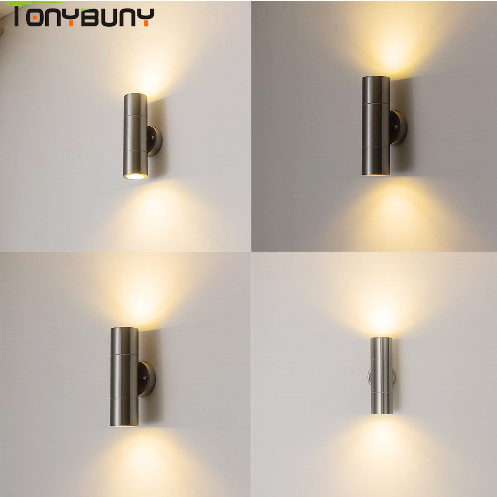 AC110V 260V Wall Sconce IP65 LED Wall light up down wall lamp nordic stainless steel led bedroom lamps wall mounted lights|LED Indoor Wall Lamps| |  - title=