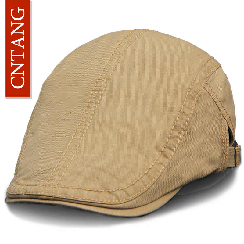 CNTANG 6 Colors Classic Solid Color Casual Berets Fashion Retro Cotton  Visor Caps For Men Vintage 2716f6398e15