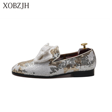 купить XOBZJH Italian Shoes Male Loafers Summer 2019 Men Luxury Wedding Prom White Loafers Men High Quality Slip On red Bottom  Shoes дешево