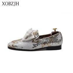 XOBZJH, zapatos italianos para hombre, mocasines de verano 2019 para hombre, mocasines blancos de fiesta de boda de lujo para hombre, zapatos de fondo rojo deslizantes de alta calidad