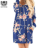 2017 Autumn Women Floral Print Long Hooded Dress Autumn Winter Pockets Pullover Hoodies Mini Dress Coat