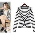 Listra preto e Branco Mulheres Blazer Lapela Marinha Mulheres Jaqueta Um Botão Blazer Casaco Terno 2015 Terno de Negócio Da Moda