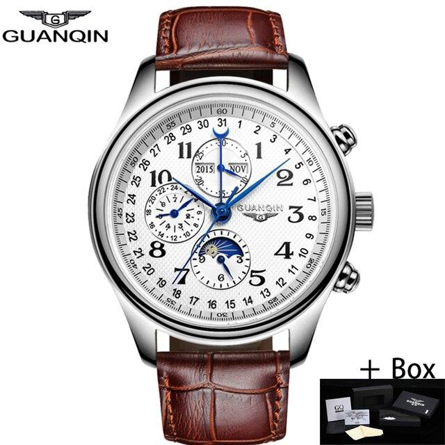 GUANQIN автоматические механические Для мужчин Часы лучший бренд класса люкс Водонепроницаемый Дата Календари Луна кожа наручные часы Relogio masculino A