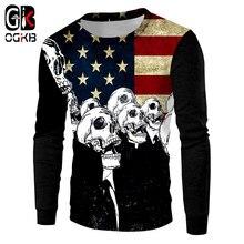 OGKB Harajuku nuevos hombres mujeres 3D sudaderas impresión gráfica bandera  americana Hoodies Cool Skull Pullover Tops Casual su. 1a159c0df99