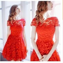 5XL Plus Size Dress Fashion Women Elegant Sweet Hallow Out Lace Dress Sexy Party Princess Slim Summer Dresses Vestidos Red Blue