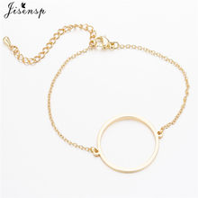 Jisensp Simple Round Stainless Steel Bracelets for Women Adjustable Gold Bracelet Bangles Lady Bridesmaid Gift pulseras(China)