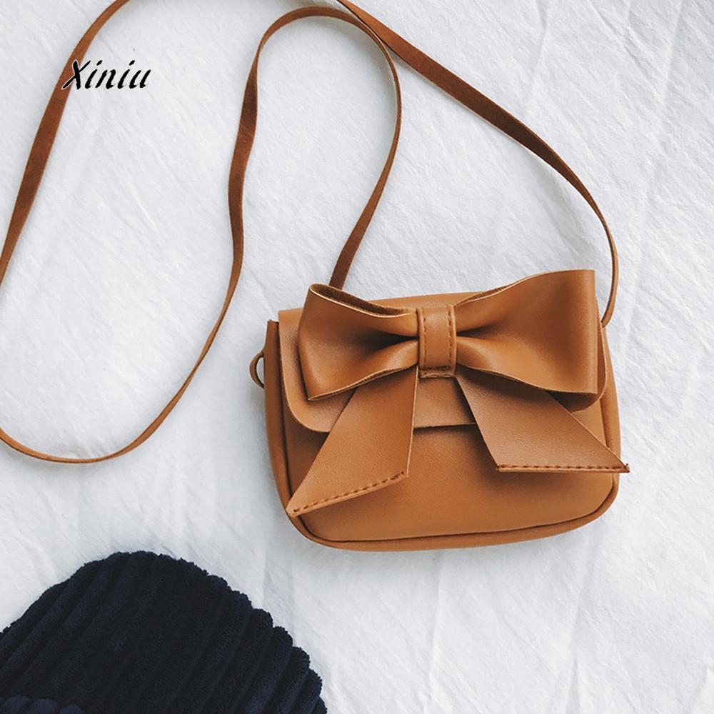Kids Girls Mini Crossbody Bag Bowknot Leather Handbag Shoulder Bag Gifts