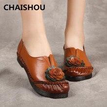 CHAISHOU zapatos de cuero de Otoño de la vendimia de las mujeres de boca profunda cómodo grande flor suave zapatillas de talla grande zapatos de las mujeres B-42