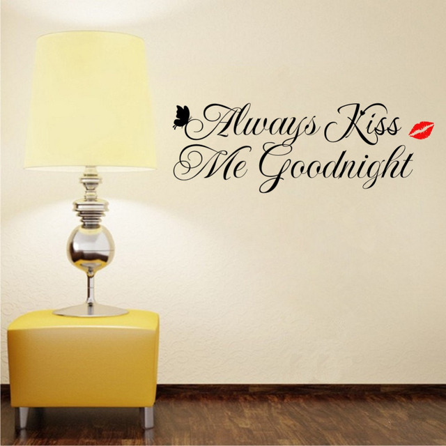 Always Kiss Me Goodnight Wall Decals Vinyl Home Stickers Bedroom Decor For  Kids Room Decoration