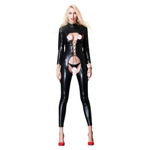 wetlook Faux Leather Open Crotch pvc Catsuit Sexy bandage Lingerie body suit Latex Fetish Wear bodysuit Costumes