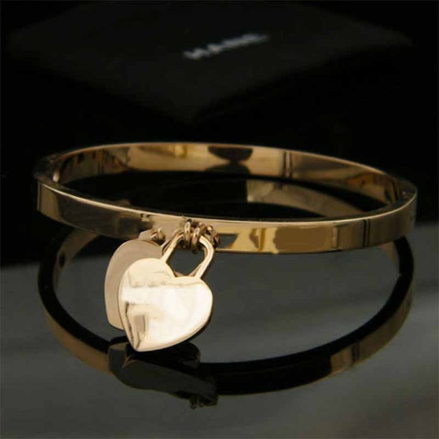 Hot New Fashion Gold Color 316L Stainless Steel Bangels two heart double T letter Bracelets for women jewelry wholesale 2