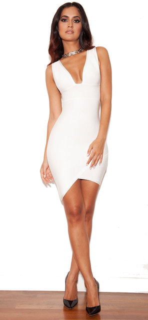 New Kylie Jenner Celebrity Party Bandage Dress Nightclub Summer Fashion White Deep V Asymmetrical Front Hem Mini Vestidos 4