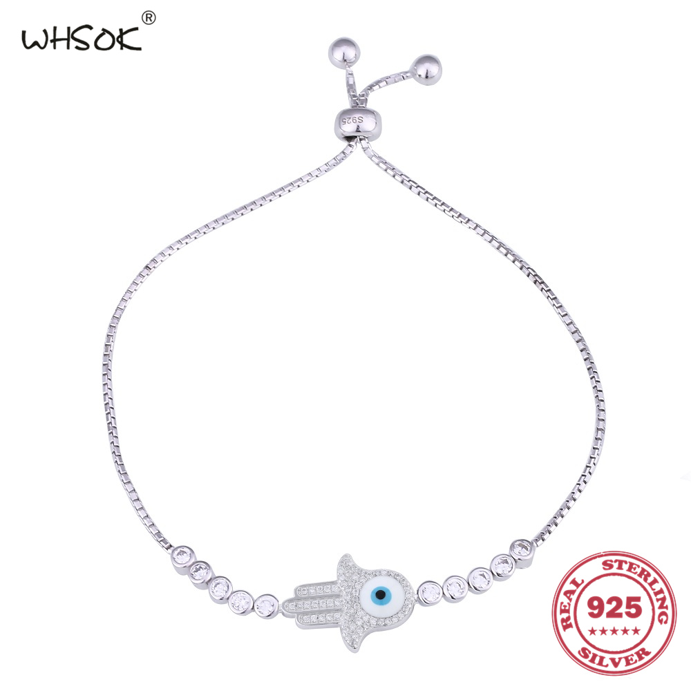 Free Shipping Fashion Women Jewelry 925 Sterling Clear CZ Palm Eye Charm Bracelet Chain Bracelets For Birthday Gift WHSOK-0116
