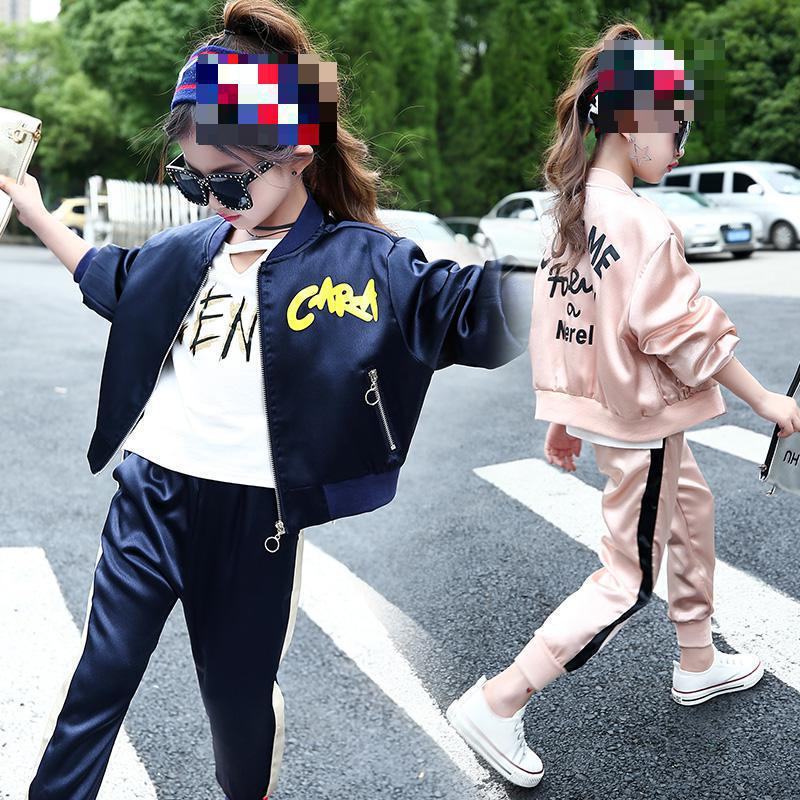 Baby Girl Clothes Set Spring Autumn 2018 Casual Children Clothing Long Sleeve Letter Outwear + Pant 2pcs Sports Suit 4t 6 10 14 free shipping 2017 spring autumn children baby boys hooded sports suit letter 2pcs set kids
