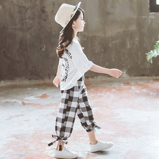 2019 Summer Girls Clothing Sets Girls Short Sleeve T-shirt+Casual Pants Teen Girl Clothes 8 10 12 14 Years back to school outfit 3